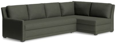 Reston 2-Piece Right Arm Bumper Trundle Sleeper Sectional Sofa  (Left Arm Queen Sleeper Sofa, Right Bumper) shown in Curious, Charcoal
