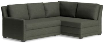 Reston 2-Piece Left Arm Loveseat Trundle Sleeper Sectional Sofa(Left Arm Loveseat Sleeper Sofa, Right Arm Bumper) shown in Curious, Charcoal