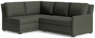 Reston 2-Piece Right Arm Loveseat Trundle Sleeper Sectional Sofa(Right Arm Loveseat Sleeper Sofa, Left Arm Bumper) shown in Curious, Charcoal