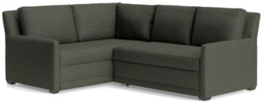 Reston 2-Piece Left Arm Corner Trundle Sleeper Sectional Sofa(Right Arm Loveseat Sleeper Sofa, Left Arm Corner Sofa) shown in Curious, Charcoal