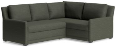Reston 2-Piece Right Arm Corner Trundle Sleeper Sectional Sofa(Left Arm Loveseat Sleeper Sofa, Right Arm Coner Sofa) shown in Curious, Charcoal