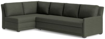 Reston 2-Piece Left Arm Bumper Trundle Sleeper Sectional Sofa (Left Bumper, Right Arm Queen Sleeper Sofa) shown in Curious, Charcoal