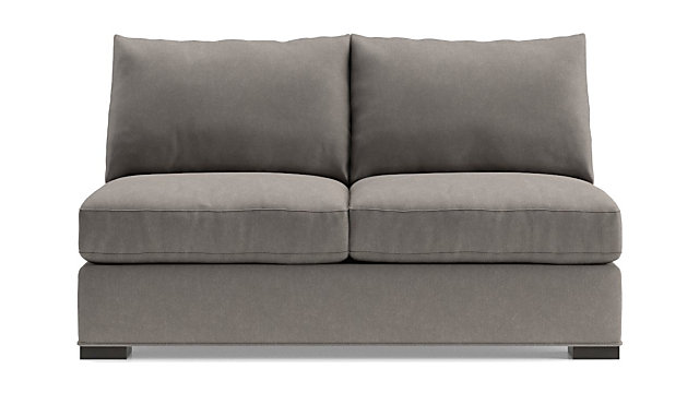 Axis II Armless Loveseat shown in Douglas, Nickel