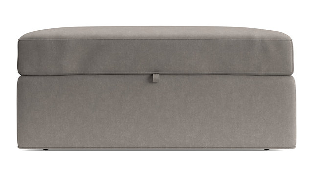 Axis II Storage Ottoman with Tray and Casters shown in Douglas, Nickel
