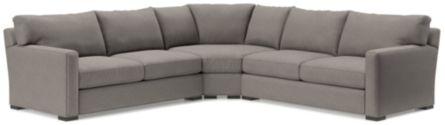 Axis II 3-Piece Sectional Sofa (Left Arm Apartment Sofa, Wedge, Right Arm Apartment Sofa) shown in Douglas, Nickel