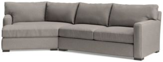 Axis II 2-Piece Left Arm Angled Chaise Sectional Sofa(Left Arm Angled Chaise, Right Arm Apartment Sofa) shown in Douglas, Nickel