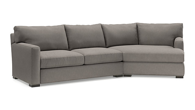 Axis II 2-Piece Right Arm Angled Chaise Sectional Sofa(Left Arm Apartment Sofa, Right Arm Angled Chaise) shown in Douglas, Nickel