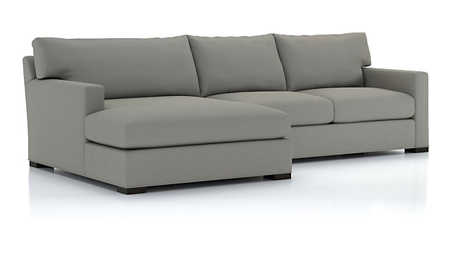 Axis II 2-Piece Left Arm Double Chaise Sectional Sofa(Left Arm Double Chaise, Right Arm Aparment Sofa) shown in Douglas, Nickel