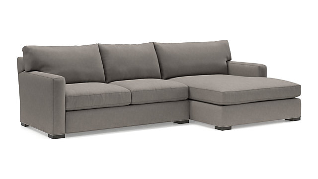 Axis II 2-Piece Right Arm Double Chaise Sectional Sofa(Left Arm Apartment Sofa, Right Arm Double Chaise) shown in Douglas, Nickel