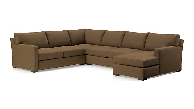 Axis II 4-Piece Sectional Sofa (Left Arm Apartment Sofa, Corner, Armless Loveseat, Right Arm Chaise) shown in Douglas, Coffee