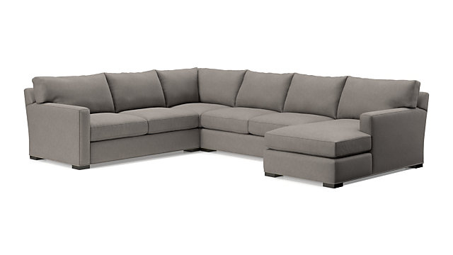 Axis II 4-Piece Sectional Sofa (Left Arm Apartment Sofa, Corner, Armless Loveseat, Right Arm Chaise) shown in Douglas, Nickel