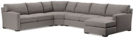 Axis II 4-Piece Sectional Sofa (Left Arm Apartment Sofa, Wedge, Armless Loveseat, Right Arm Chaise) shown in Douglas, Nickel