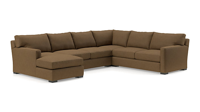 Axis II 4-Piece Sectional Sofa (Left Arm Chaise, Armless Loveseat, Corner, Right Arm Apartment Sofa) shown in Douglas, Coffee