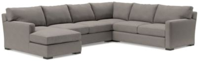 Axis II 4-Piece Sectional Sofa (Left Arm Chaise, Armless Loveseat, Corner, Right Arm Apartment Sofa) shown in Douglas, Nickel