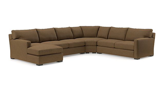 Axis II 4-Piece Sectional Sofa (Left Arm Chaise, Armless Loveseat, Wedge, Right Arm Apartment Sofa) shown in Douglas, Coffee