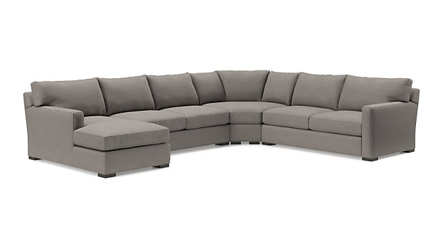 Axis II 4-Piece Sectional Sofa (Left Arm Chaise, Armless Loveseat, Wedge, Right Arm Apartment Sofa) shown in Douglas, Nickel