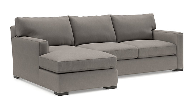 Axis II 2-Piece Sectional Sofa (Left Arm Chaise, Right Arm Apartment Sofa) shown in Douglas, Nickel