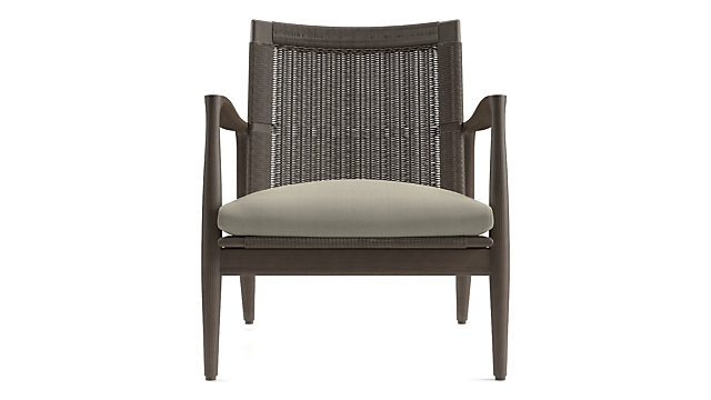 Sebago Midcentury Rattan Chair with Fabric Cushion shown in Newport, Cement