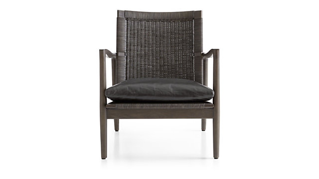 Sebago Midcentury Rattan Chair with Leather Cushion shown in Libby, Smoke