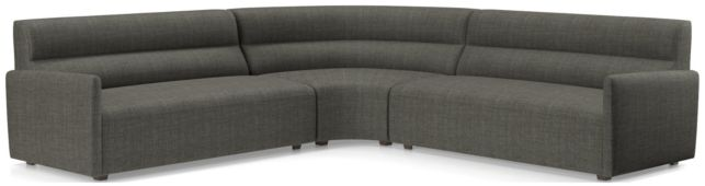 Sydney 3-piece Curved Sectional(Left Arm Sofa, Wedge, Right Arm Sofa) shown in Mystic, Stout