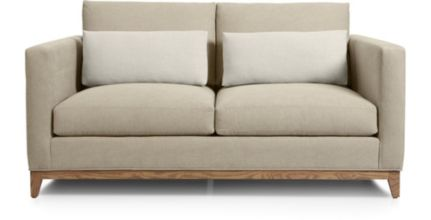 Taraval Loveseat with Oak Base shown in Tote, Putty