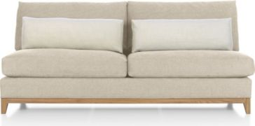 Taraval Armless Loveseat with Oak Base shown in Tote, Putty