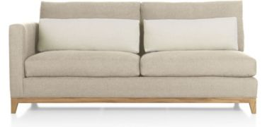 Taraval Left Arm Loveseat with Oak Base shown in Tote, Putty