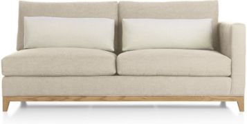 Taraval Right Arm Loveseat with Oak Base shown in Tote, Putty