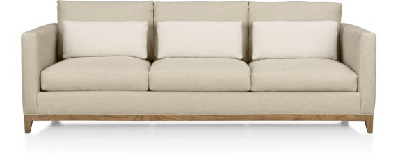 Taraval 3-Seat Sofa with Oak Base shown in Tote, Putty