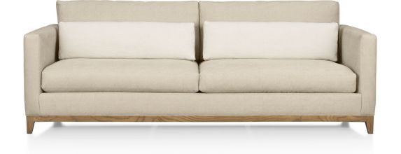 Taraval 2-Seat Sofa with Oak Base shown in Tote, Putty