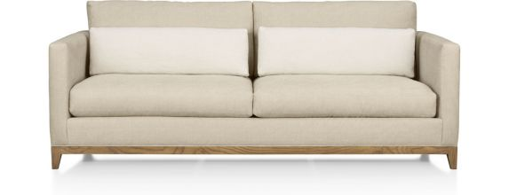 Taraval Apartment Sofa with Oak Base shown in Tote, Putty
