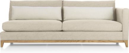 Taraval Right Arm Sofa with Oak Base shown in Tote, Putty