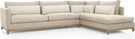 Taraval 2-Piece Sectional with Oak Base (Left Arm Sofa, Right Bumper) shown in Tote, Putty