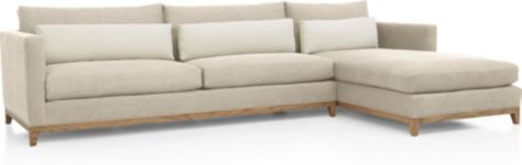 Taraval 2-Piece Sectional with Oak Base (Left Arm Sofa, Right Arm Chaise) shown in Tote, Putty