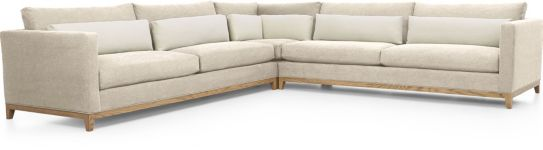 Taraval 3-Piece Sectional with Oak Base (Left Arm Sofa, Corner, Right Arm Sofa) shown in Tote, Putty
