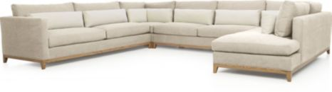 Taraval 4-Piece Sectional with Oak Base (Left Arm Sofa, Corner, Armless Loveseat, Right Bumper) shown in Tote, Putty