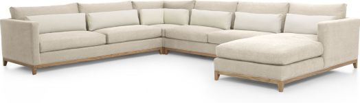 Taraval 4-Piece Sectional with Oak Base (Left Arm Sofa, Corner, Armless Loveseat, Right Arm Chaise) shown in Tote, Putty