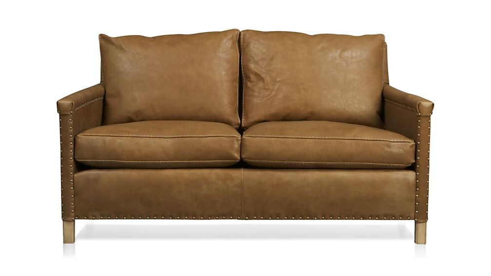Trevor Camel Leather Apartment Sofa | Crate and Barrel