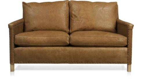 Trevor Leather Apartment Sofa shown in Sicily, Camel