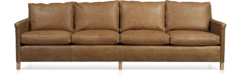 """Trevor Leather 4-Seat 106"""" Grande Sofa shown in Sicily, Camel"""