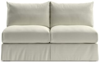 Willow Modern Slipcovered Armless Loveseat shown in Kingston, Snow