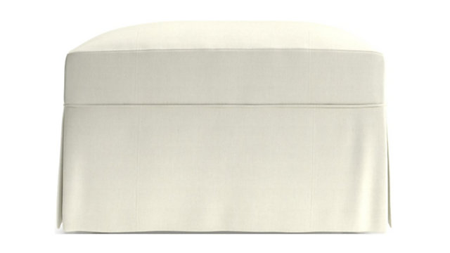 Willow Modern Slipcovered Ottoman with Casters shown in Kingston, Snow