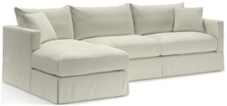 Willow 2-Piece Left Arm Chaise Modern Slipcovered Sectional(Left Arm Chaise, Right Arm Sofa) shown in Kingston, Snow