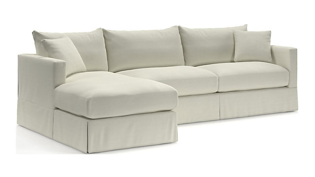 Tap To Zoom Willow 2 Piece Left Arm Chaise Modern Slipcovered Sectional Right