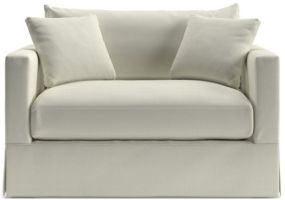 Willow Modern Slipcovered Twin Sleeper Sofa shown in Kingston, Snow