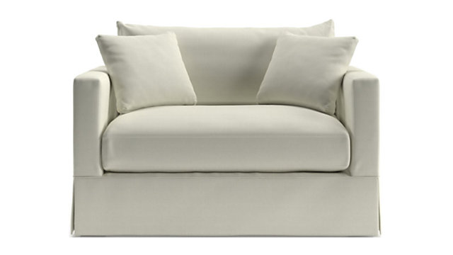 Willow Modern Slipcovered Twin Sleeper Sofa with Air Mattress shown in Kingston, Snow