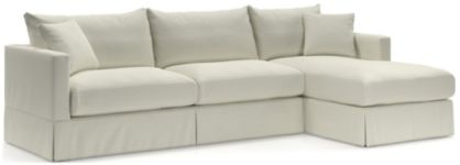 Willow 2-Piece Right Arm Chaise Modern Slipcovered Sectional(Left Arm Sofa, Right Arm Chaise) shown in Kingston, Snow