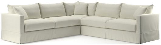 Willow 3-Piece Modern Slipcovered Sectional(Left Arm Sofa, Corner, Right Arm Sofa) shown in Kingston, Snow