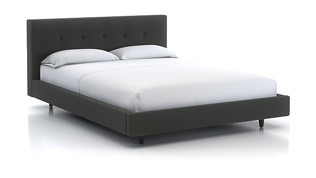 """Tate Queen Upholstered Bed 38"""" shown in Winslow, Charcoal"""