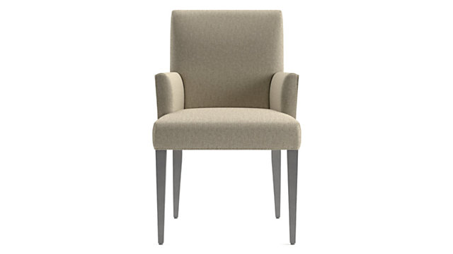Miles Upholstered Dining Arm Chair shown in Tobias, Fennel